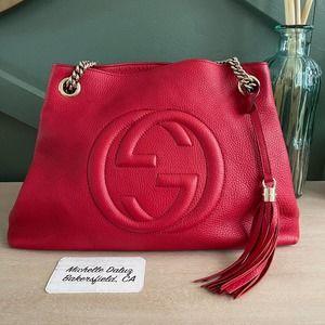 Gucci Chain Soho Tote Tassel Red Medium Bag